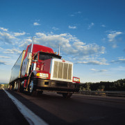 Semi truck barreling down highway